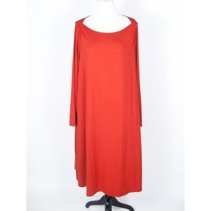 Eileen Fisher Burnt Orange Viscose Stretch Dress